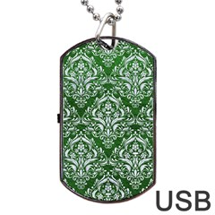 Damask1 White Marble & Green Leather Dog Tag Usb Flash (two Sides) by trendistuff