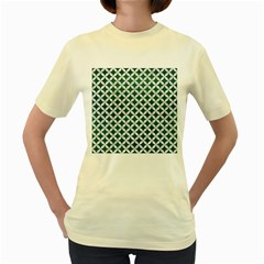 Circles3 White Marble & Green Leather Women s Yellow T Shirt