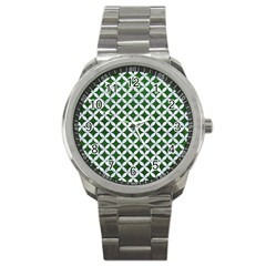 Circles3 White Marble & Green Leather Sport Metal Watch by trendistuff