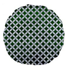 Circles3 White Marble & Green Leather Large 18  Premium Flano Round Cushions by trendistuff