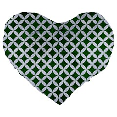 Circles3 White Marble & Green Leather Large 19  Premium Flano Heart Shape Cushions by trendistuff