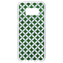 Circles3 White Marble & Green Leather Samsung Galaxy S8 White Seamless Case by trendistuff