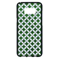 Circles3 White Marble & Green Leather Samsung Galaxy S8 Plus Black Seamless Case