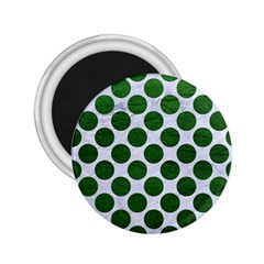 Circles2 White Marble & Green Leather (r) 2 25  Magnets by trendistuff