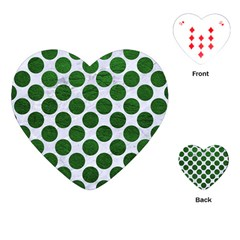 Circles2 White Marble & Green Leather (r) Playing Cards (heart)  by trendistuff