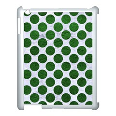 Circles2 White Marble & Green Leather (r) Apple Ipad 3/4 Case (white) by trendistuff