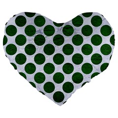 Circles2 White Marble & Green Leather (r) Large 19  Premium Flano Heart Shape Cushions by trendistuff