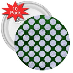 Circles2 White Marble & Green Leather 3  Buttons (10 Pack)  by trendistuff