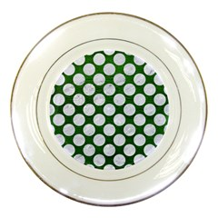 Circles2 White Marble & Green Leather Porcelain Plates by trendistuff