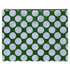 Circles2 White Marble & Green Leather Cosmetic Bag (xxxl) by trendistuff