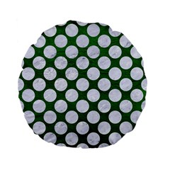 Circles2 White Marble & Green Leather Standard 15  Premium Flano Round Cushions by trendistuff