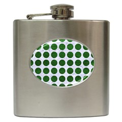 Circles1 White Marble & Green Leather (r) Hip Flask (6 Oz) by trendistuff