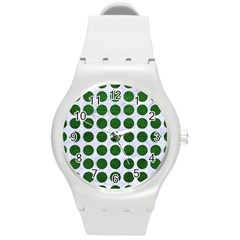 Circles1 White Marble & Green Leather (r) Round Plastic Sport Watch (m) by trendistuff