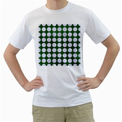 Circles1 White Marble & Green Leather Men s T Shirt (white) (two Sided) by trendistuff