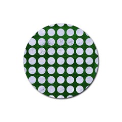 Circles1 White Marble & Green Leather Rubber Round Coaster (4 Pack)  by trendistuff