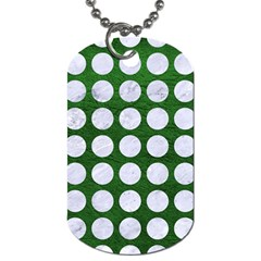 Circles1 White Marble & Green Leather Dog Tag (two Sides) by trendistuff