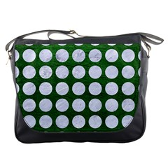 Circles1 White Marble & Green Leather Messenger Bags by trendistuff