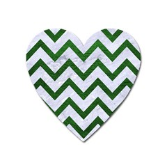Chevron9 White Marble & Green Leather (r) Heart Magnet