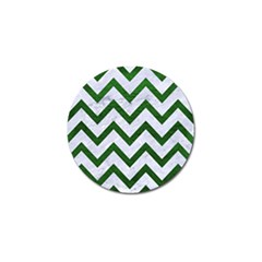 Chevron9 White Marble & Green Leather (r) Golf Ball Marker