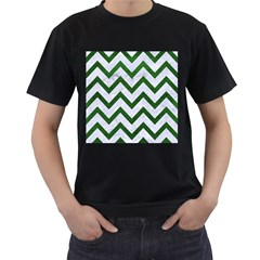 Chevron9 White Marble & Green Leather (r) Men s T Shirt (black) (two Sided)