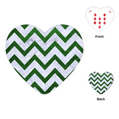 Chevron9 White Marble & Green Leather (r) Playing Cards (heart)  by trendistuff