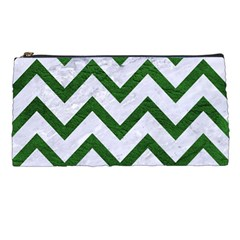 Chevron9 White Marble & Green Leather (r) Pencil Cases by trendistuff