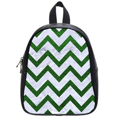 Chevron9 White Marble & Green Leather (r) School Bag (small) by trendistuff