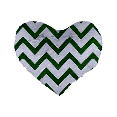 Chevron9 White Marble & Green Leather (r) Standard 16  Premium Heart Shape Cushions by trendistuff