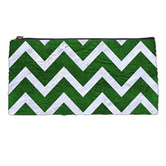 Chevron9 White Marble & Green Leather Pencil Cases by trendistuff