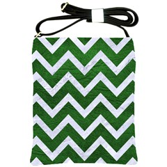 Chevron9 White Marble & Green Leather Shoulder Sling Bags by trendistuff