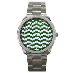 Chevron3 White Marble & Green Leather Sport Metal Watch by trendistuff
