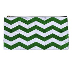 Chevron3 White Marble & Green Leather Pencil Cases by trendistuff