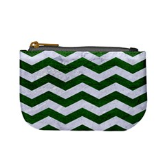 Chevron3 White Marble & Green Leather Mini Coin Purses by trendistuff