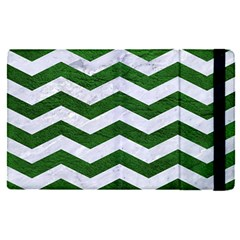 Chevron3 White Marble & Green Leather Apple Ipad Pro 12 9   Flip Case by trendistuff