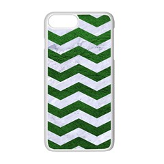 Chevron3 White Marble & Green Leather Apple Iphone 7 Plus Seamless Case (white) by trendistuff