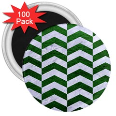 Chevron2 White Marble & Green Leather 3  Magnets (100 Pack) by trendistuff