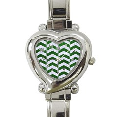 Chevron2 White Marble & Green Leather Heart Italian Charm Watch by trendistuff