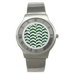 Chevron2 White Marble & Green Leather Stainless Steel Watch