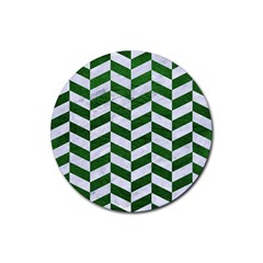 Chevron1 White Marble & Green Leather Rubber Coaster (round)  by trendistuff