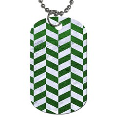 Chevron1 White Marble & Green Leather Dog Tag (one Side) by trendistuff