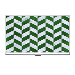 Chevron1 White Marble & Green Leather Business Card Holders by trendistuff