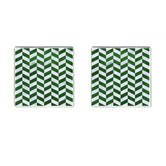 Chevron1 White Marble & Green Leather Cufflinks (square) by trendistuff