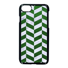 Chevron1 White Marble & Green Leather Apple Iphone 8 Seamless Case (black) by trendistuff