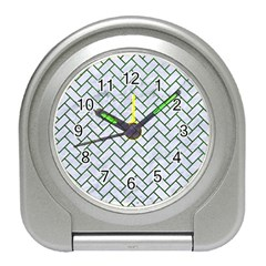 Brick2 White Marble & Green Leather (r) Travel Alarm Clock by trendistuff