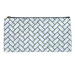 Brick2 White Marble & Green Leather (r) Pencil Cases