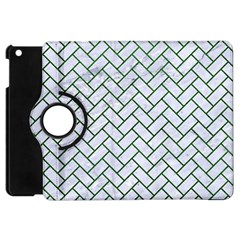 Brick2 White Marble & Green Leather (r) Apple Ipad Mini Flip 360 Case by trendistuff