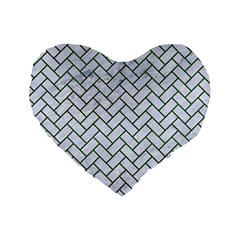 Brick2 White Marble & Green Leather (r) Standard 16  Premium Flano Heart Shape Cushions by trendistuff