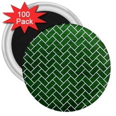 Brick2 White Marble & Green Leather 3  Magnets (100 Pack) by trendistuff