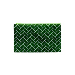 Brick2 White Marble & Green Leather Cosmetic Bag (xs) by trendistuff