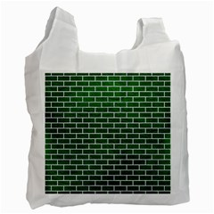 Brick1 White Marble & Green Leather Recycle Bag (one Side) by trendistuff